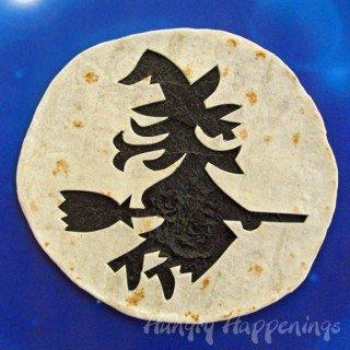 Halloween Tortilla Appetizer Decorated Using Pumpkin Carving Stencils