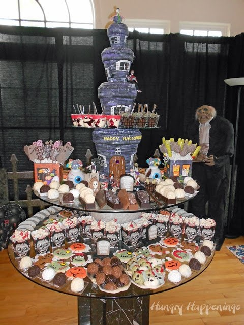 A fun way to display Halloween desserts for your Zombie Party.