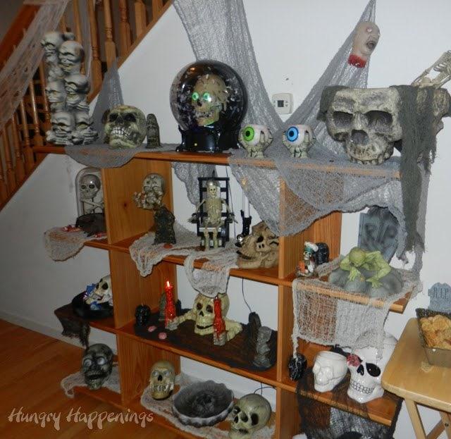 Halloween Decorations Shelf of Skulls
