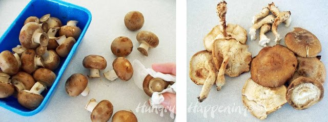 Wipe the dirt off your mushrooms using a damp paper towel.