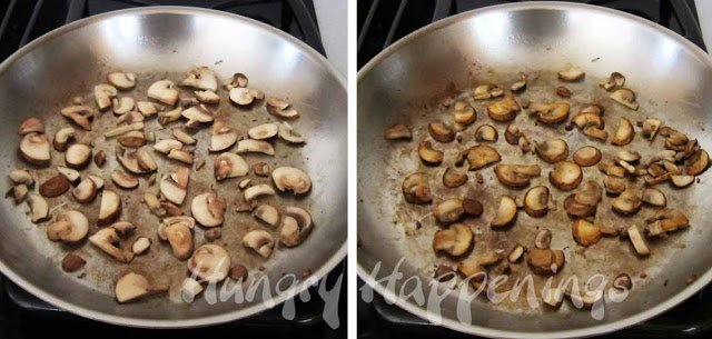 Caramelize the mushrooms in oil a single layer in a skillet.
