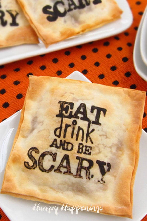 Eat, Drink and be Scary Madeira Mushroom Won Tons Halloween Appetizers