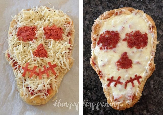 This Skull Shaped Pizza is the way to go for a spooky Halloween Dinner! This pizza is topped with bacon, spinach, sun-dried tomatoes, and goat cheese. But don't let your imagination stop there... put whatever you'd like on this delicious creation!