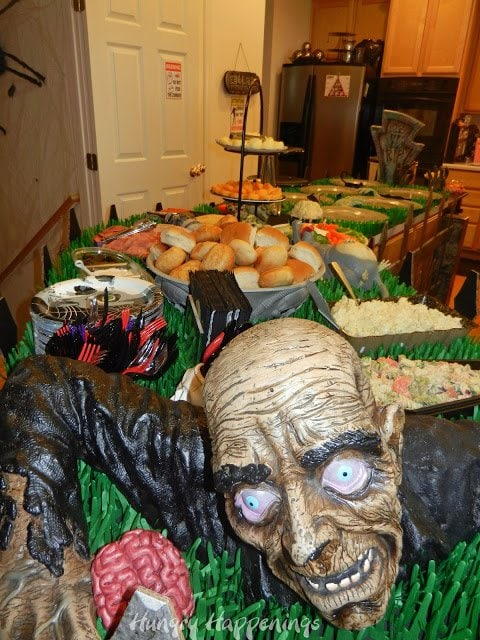 Zombie Decoration on our Halloween party food table.