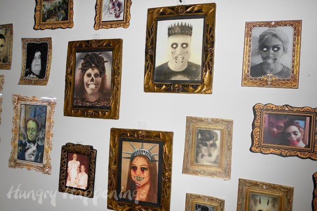 Wall of zombie portraits.