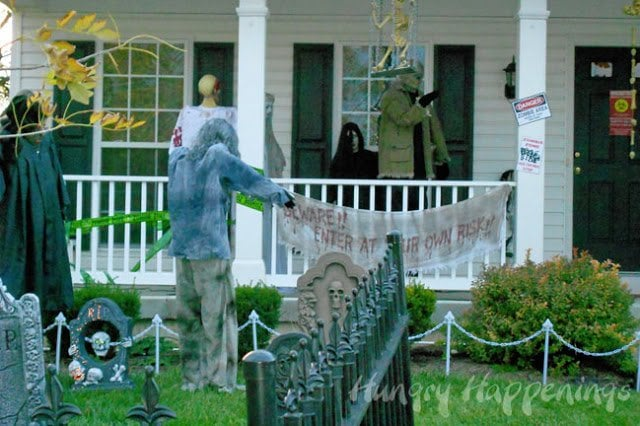 Zombie Party Ideas - Decorate your front porch with zombies.