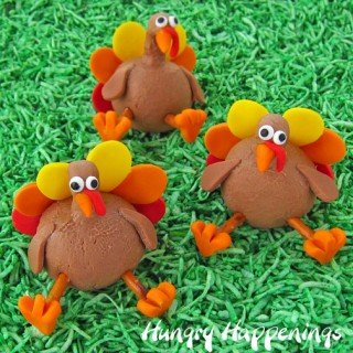 Chocolate Peanut Butter Fudge or Caramel Thanksgiving Turkey Treats