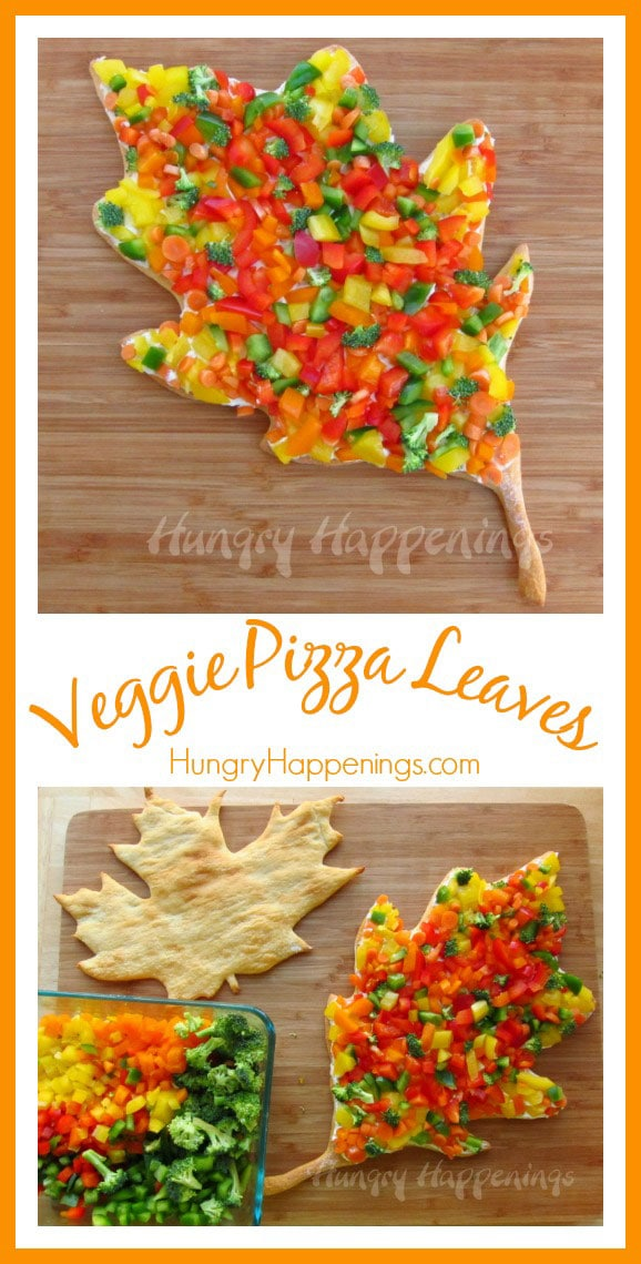 Brighten up your Thanksgiving dinner by making these Veggie Pizza Leaves! This appetizer is so tasty you'll want to have it all the time!