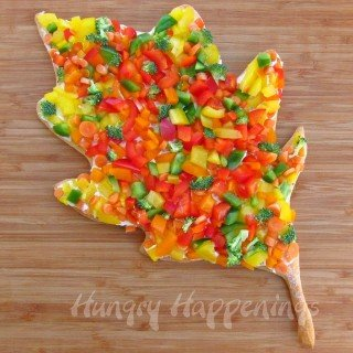 Veggie Pizza Leaves make colorful appetizers for Thanksgiving or fall