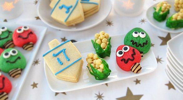 Dreidel Cookies, Corn Cob Cookies, and Christmas Light Cookies