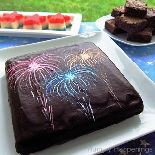 Brownie decorated with fireworks