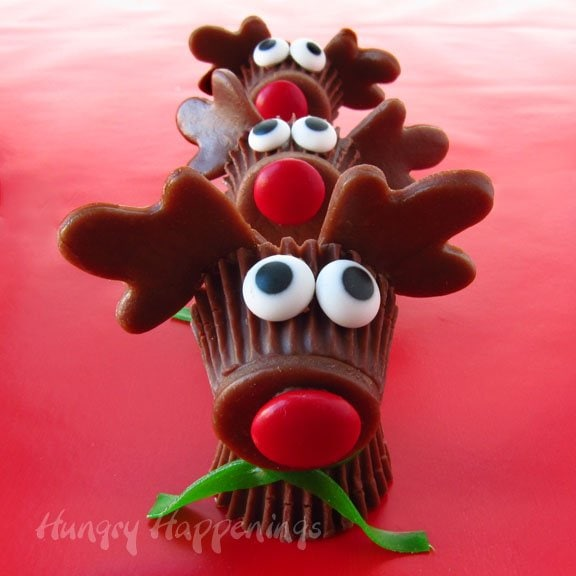 Reese's Cup Rudolph the Red Nose Reindeer - Christmas Desserts