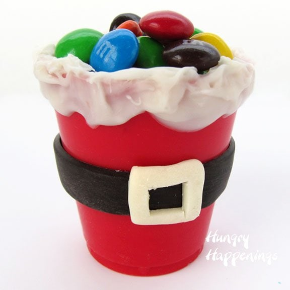 Edible santa suit candy cups hungry happenings for Edible christmas crafts for kids