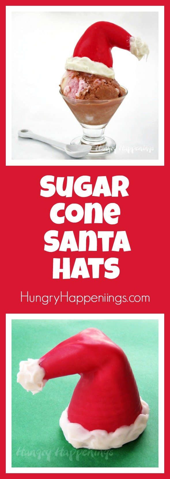Did you know that you can bend store bought ice cream cones into adorable Sugar Cone Santa Hats? How fun would it be this Christmas to surprise your guests with these treats straight from the North Pole?