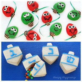 Two holiday cookie recipes- Christmas Lights and Dreidels