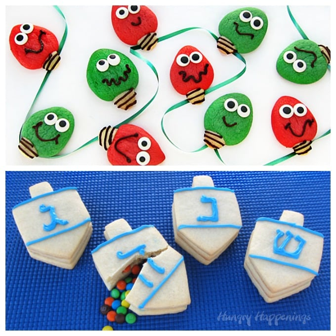 Christmas Light Cookies and Candy Filled Dreidel Hanukkah Cookies