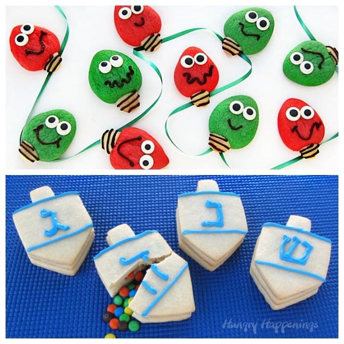 Christmas Light Cookies and Candy Filled Dreidel Hanukkah Cookies
