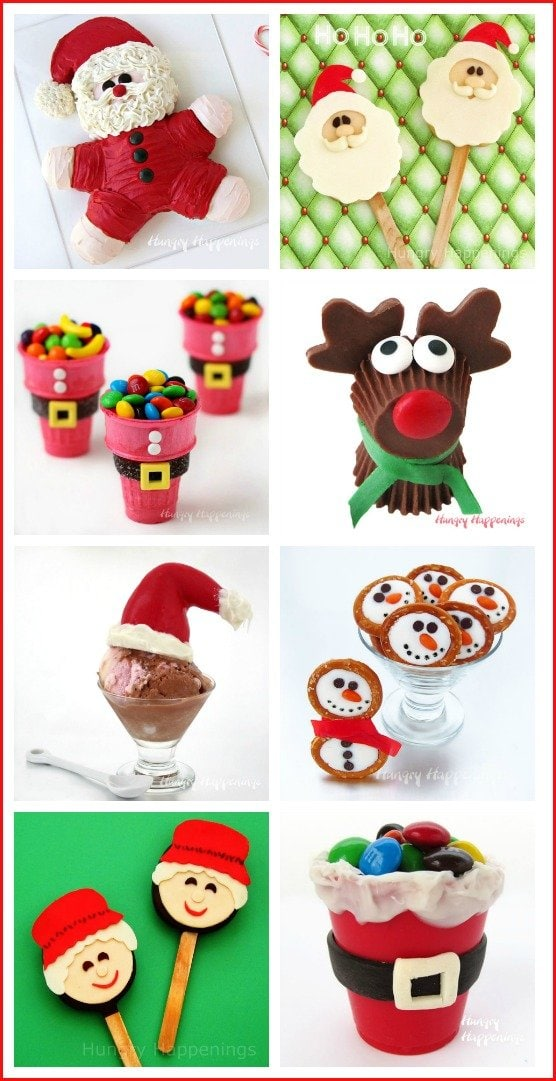 Make Christmas sweet by making some Santa Claus, Rudolph, or Frosty themed treats. Find all the instructions at HungryHappenings.com.