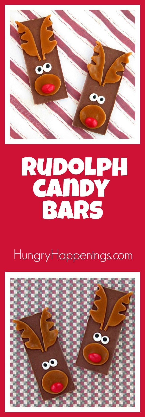 This Christmas, get everyone into a festive mood by transforming ordinary chocolate bars into these Rudolph the Red Nose Reindeer Candy Bars. I guarantee this super easy treat will bring lots of smiles to kids of all ages.