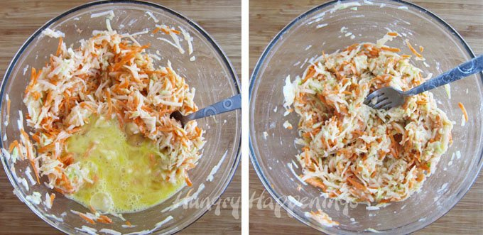 Mücver Recipe using shredded vegetables.