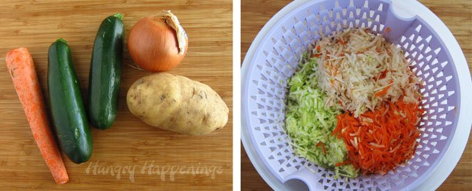 Make Mücver using shredded zucchini, potato, onion and more then shape them like Footballs for your Super Bowl party.