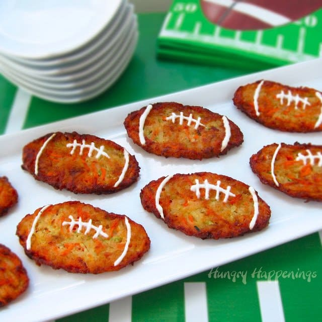 Football shaped zucchini fritters - super bowl, tailgating, party food.