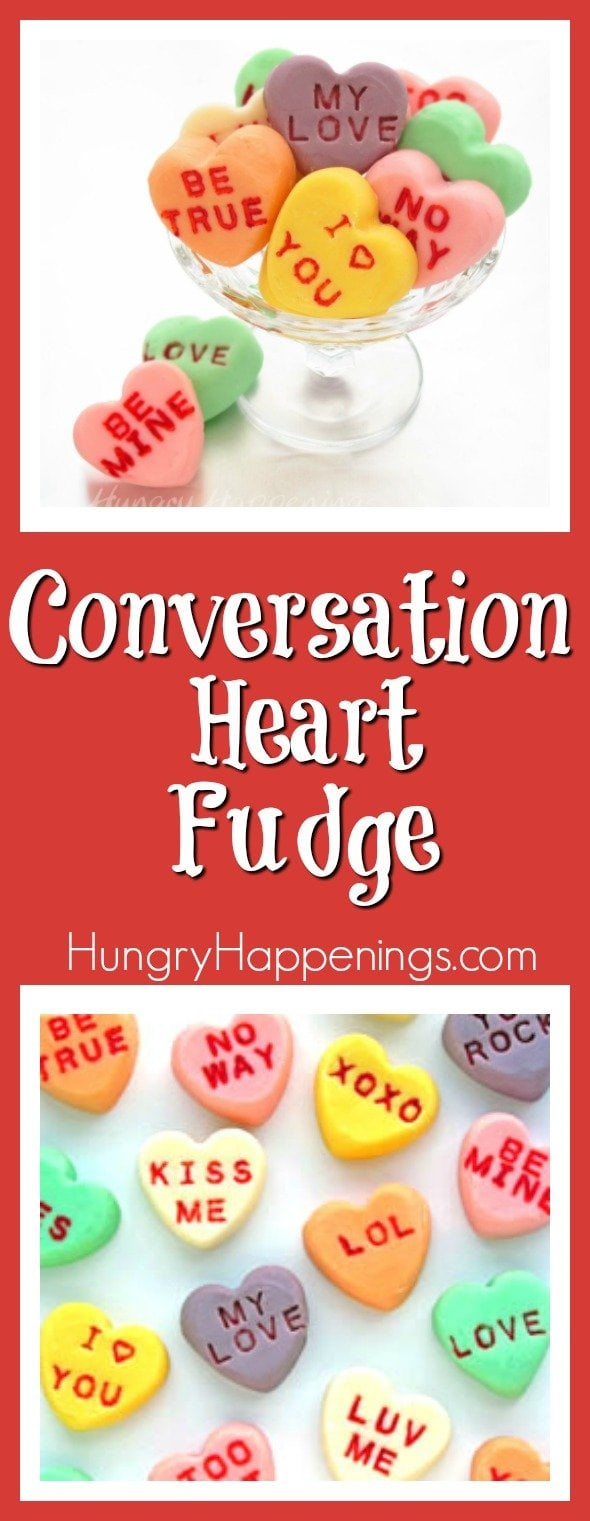 This Valentine's Day tell your loved ones how you feel by making colorful white chocolate Conversation Heart Fudge. Each bite sized candy can be imprinted with traditional conversation heart phrases or something more personal.