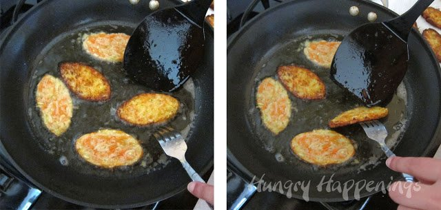 how to fry football shaped zucchini fritters in a skillet