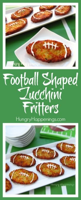 Football fans at your Super Bowl, tailgating or homegating parties will cheer when you serve these Football Shaped Zucchini Fritters. Filled with zucchini, carrots, potatoes, and onions, these fun appetizers can be baked or fried.