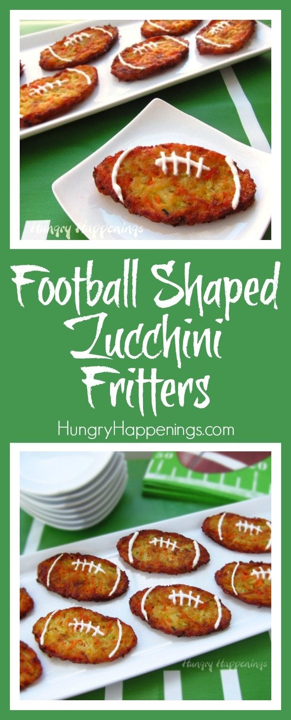 Add a little veggie in your appetizers this Super Bowl Sunday. Make these Football Shaped Zucchini Fritters and please the more health conscious people. You don't have to tell them everything that's in it, just the zucchini!
