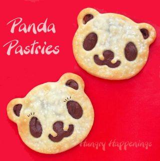 panda bear pastries filled with chocolate hazelnut spread on a red background