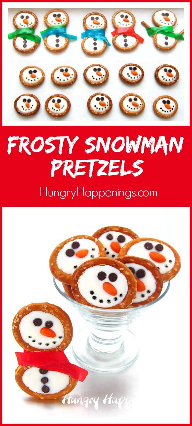 White Chocolate Frosty Snowman Pretzels make sweet winter and Christmas treats.