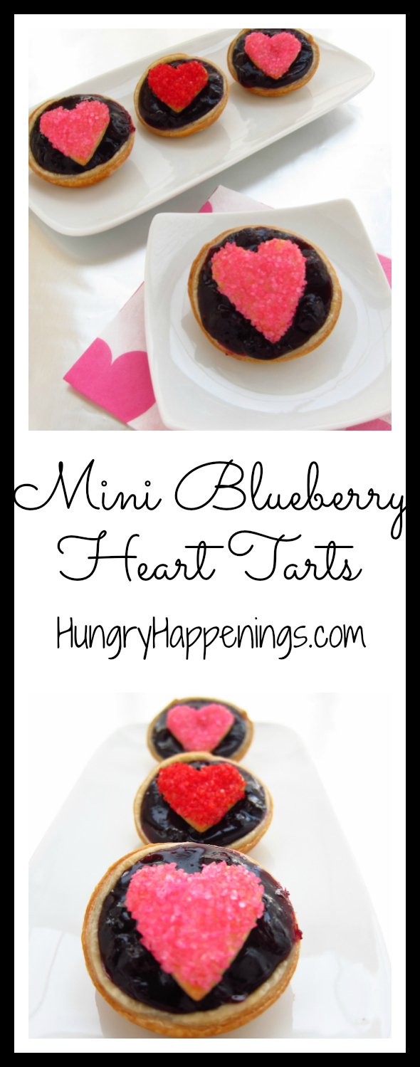 Bake up a batch of these Mini Blueberry Heart Tarts for your loved ones this Valentine's Day. Each mini blueberry pie topped with a sugar-coated heart-shaped pie crust looks as fun as it tastes.