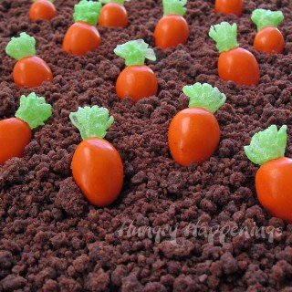 Almond M&M Candy Carrots topped with Mike & Ike Greens