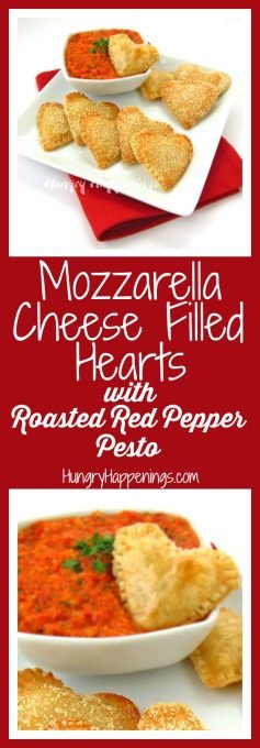 Mozzarella Cheese filled Hearts served with Roasted Red Pepper Pesto for Valentine's Day or a Bridal Shower