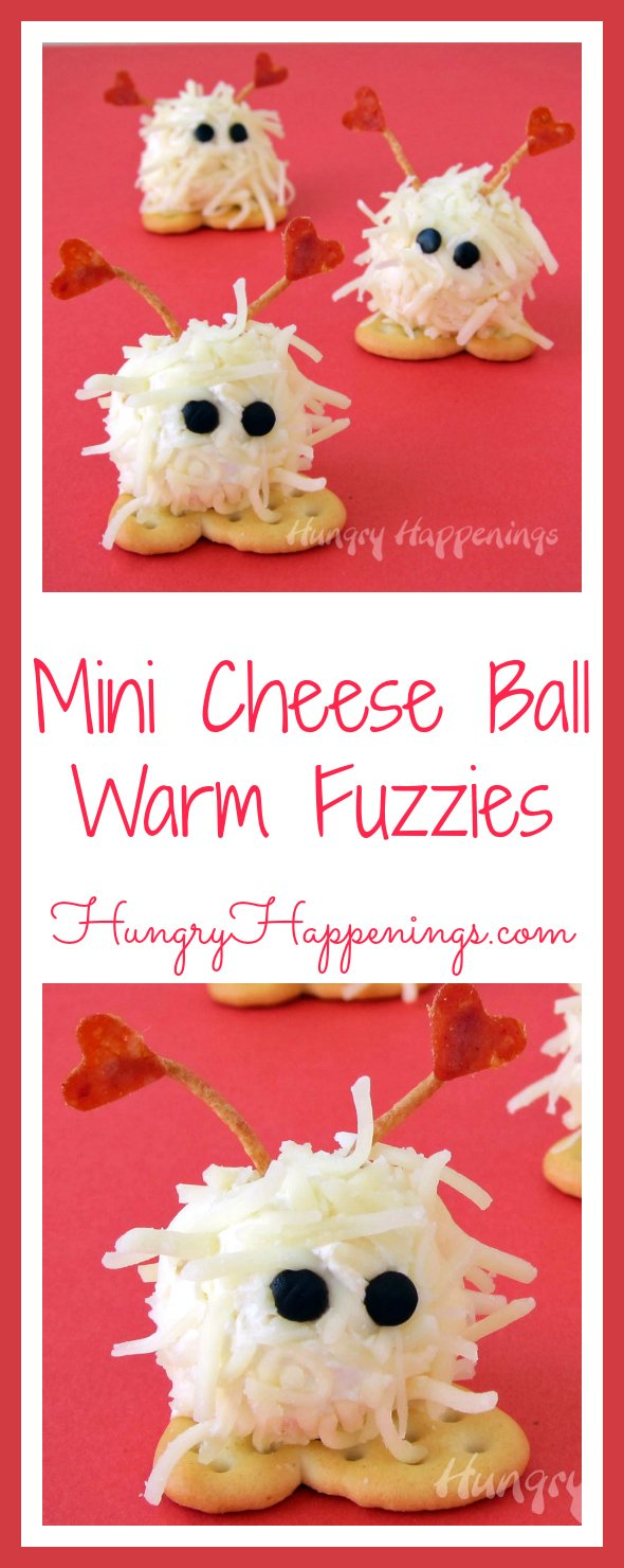 These Mini Cheese Ball Warm Fuzzies are so adorable you're not going to want to chow down on them. They even have little cracker feet so all your guests will have to do is pop one in their mouth and enjoy!
