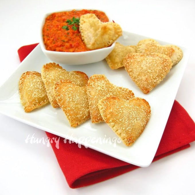 Mozzarella Cheese Filled Hearts served with Roasted Red Pepper Pesto for Valentine's Day