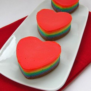 Rainbow Cheesecake Hearts Featured at Tablespoon.com