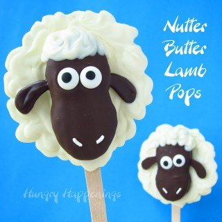 White and Dark Chocolate Nutter Butter Lamb Pops