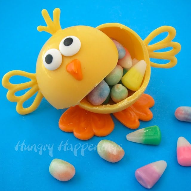 White chocolate Easter chick filled with candy.