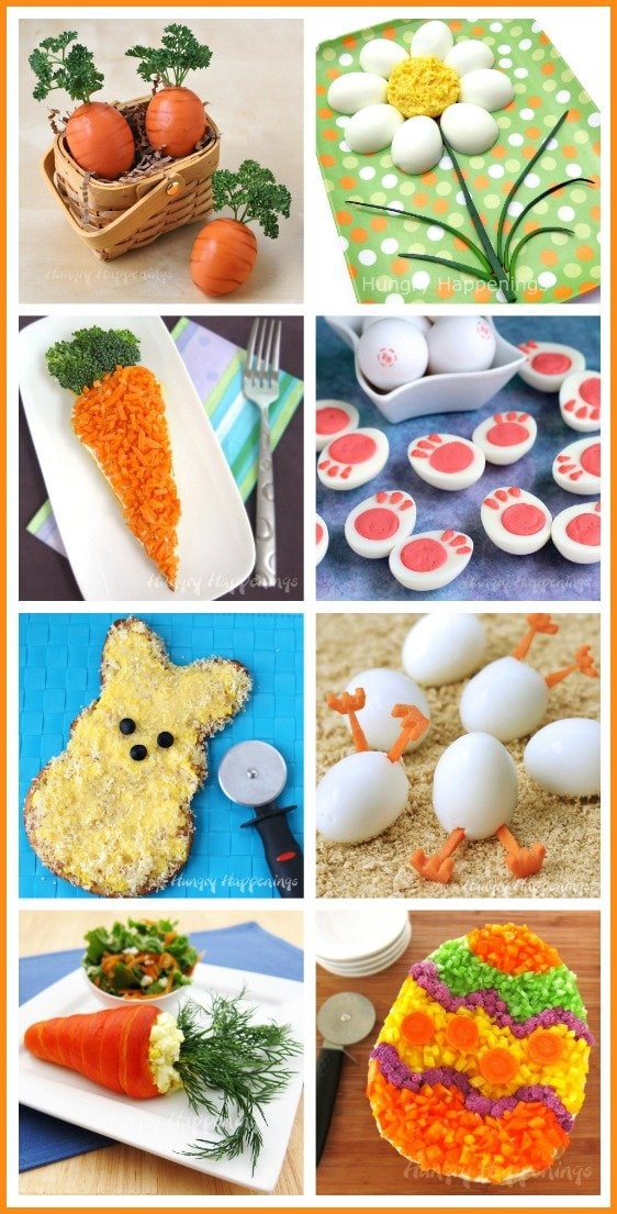 Festive Easter appetizers can dress up your holiday dinner. Choose from whimsical deviled eggs, fun veggie pizzas, stuffed crescent roll carrots and more. See all the recipes at HungryHappenings.com.
