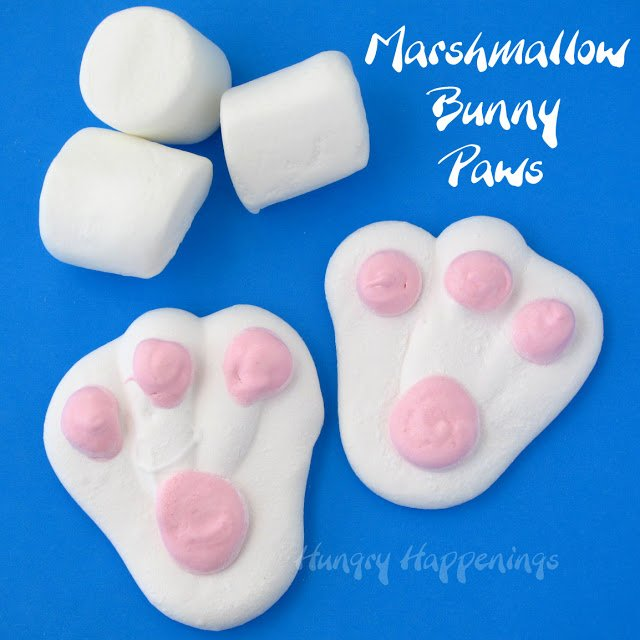 Catch Peter Cotton Tail hopping down the bunny trail! These Homemade Marshmallow Easter Bunny Paws are the perfect treat to fill up those Easter baskets and are more scrumptious than store bought candies!