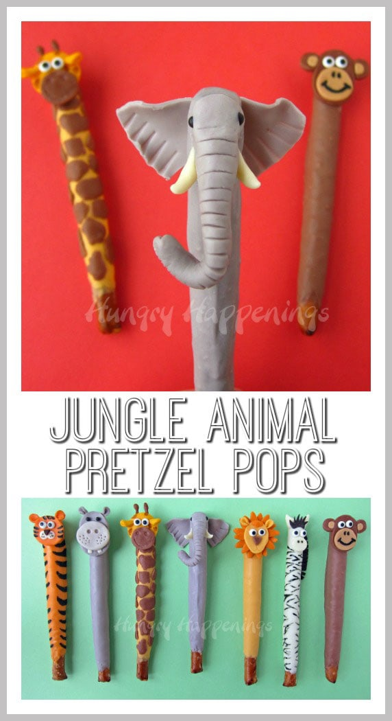 Embrace your wild side and make these Jungle Animal Pretzel Pops! These treats are so much fun to make with your kids and create their favorite animal!
