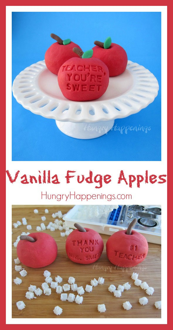 TheseVanilla Fudge Applesare the perfect treat to thank your children's teachers with! Instead of a traditional apple give them this deliciously sweet treat that you can personalize however you'd like.
