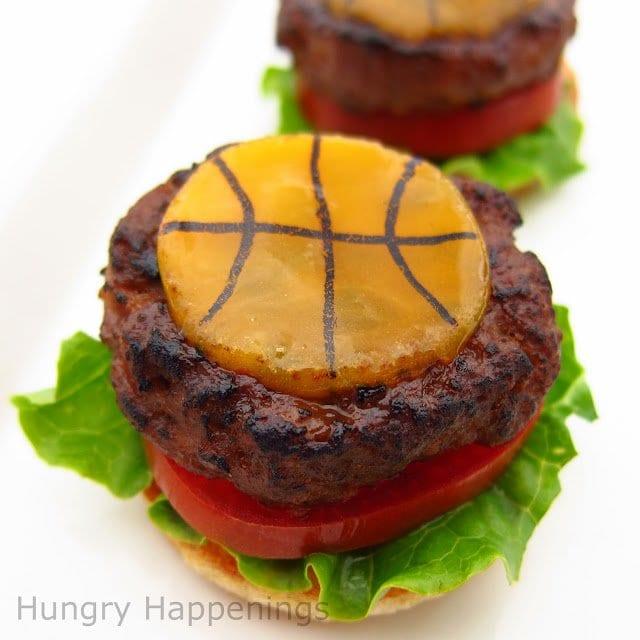 basketball hamburgers - basketball themed food