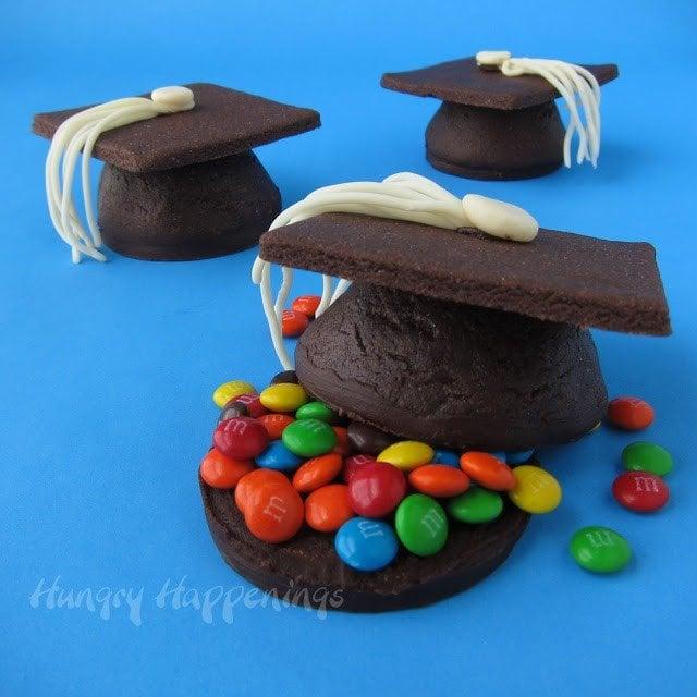 Grad cap cookies filled with mini M&M's.