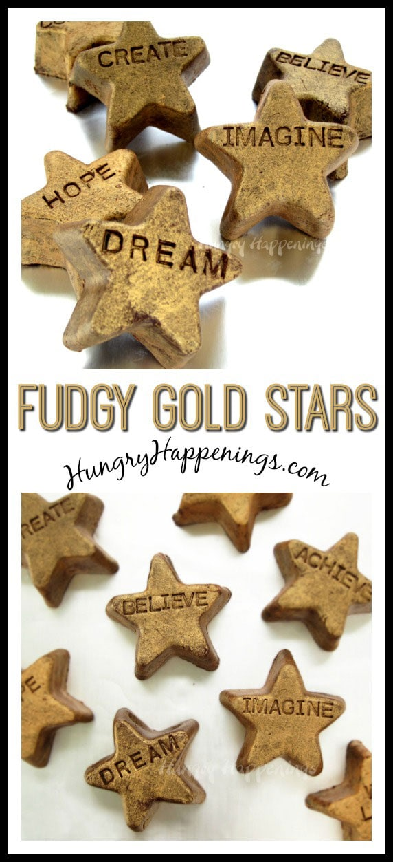 These shiny Fudgy Gold Stars are a great motivational treat for anyone! Personalize these simple snacks with any words you'd like and inspire everyone you love!