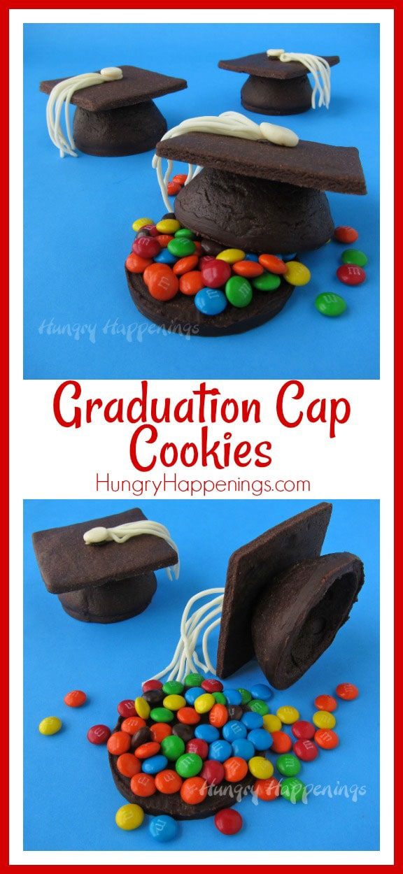 Looking for a great dessert for your child's graduation party? TheseCandy Filled Chocolate Graduation Cap Cookiesare an amazing way to wow everyone!
