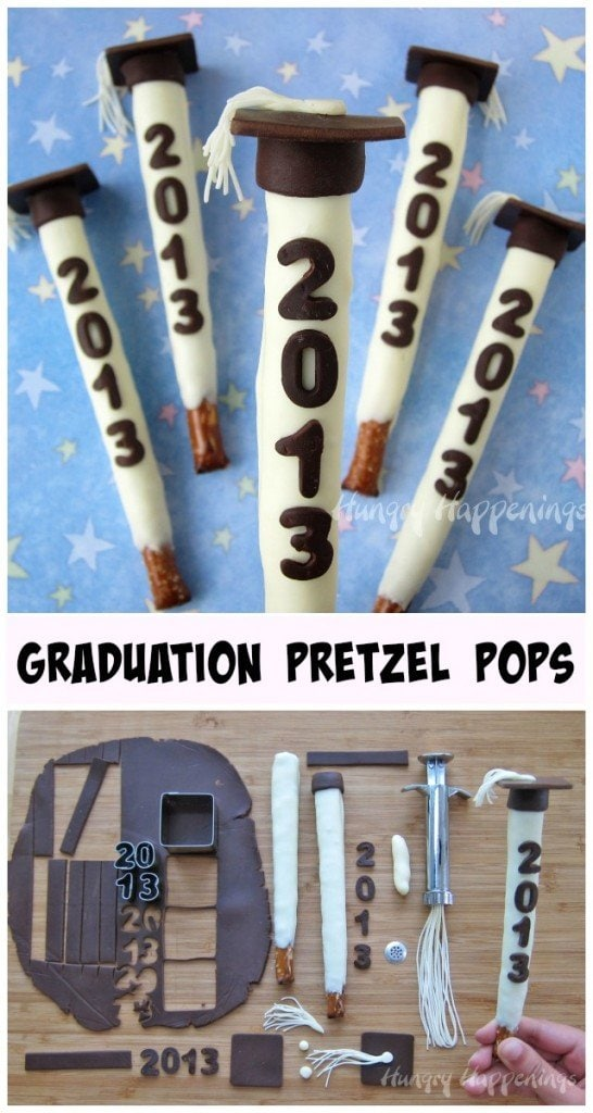 Make your commencement celebration extra special by serving Graduation Party Pretzel Pops. These white chocolate dipped pretzels decorated with modeling chocolate graduation caps can be personalized with the year of graduation, the school or the graduate's name.