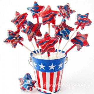 Patriotic Pops – Red, White and Blue Candy Coated Cereal Treat Stars